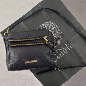 Vince Camuto black fold-over double zip leather